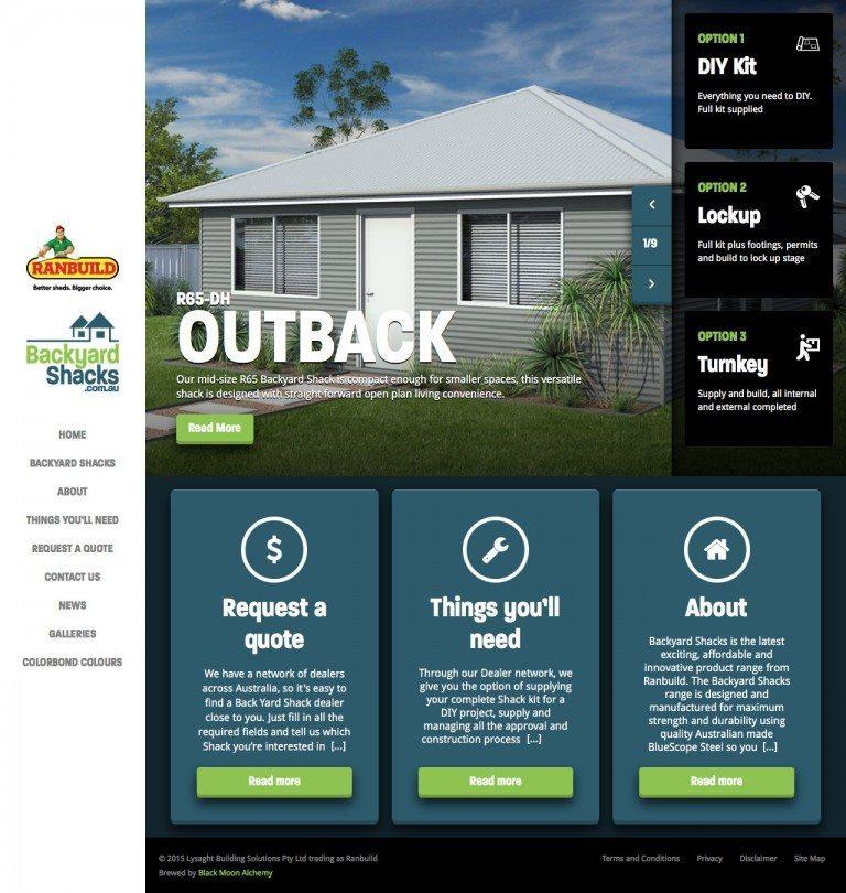 Backyard Shacks Website Homepage