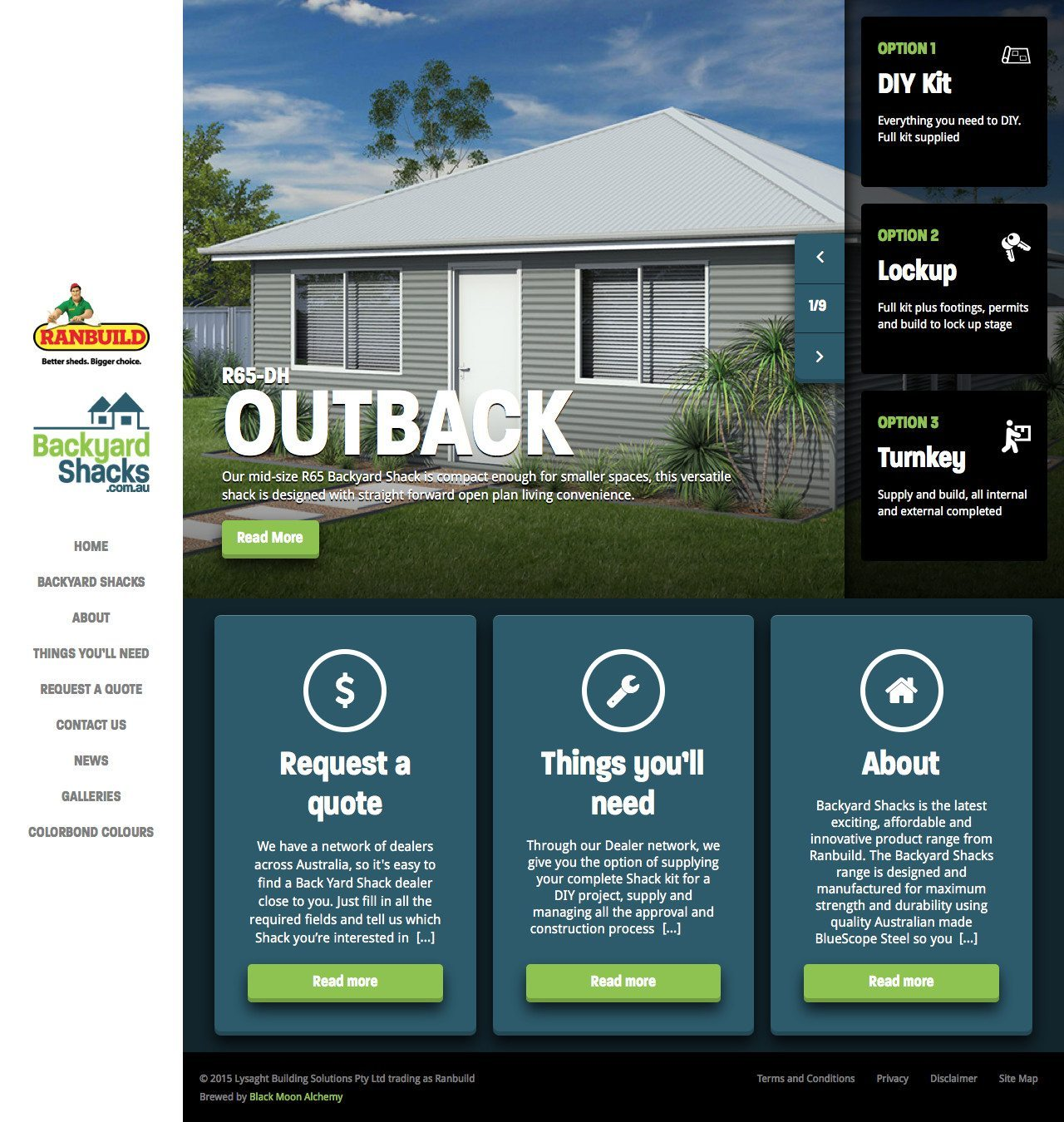 Backyard Shacks Website Homepage