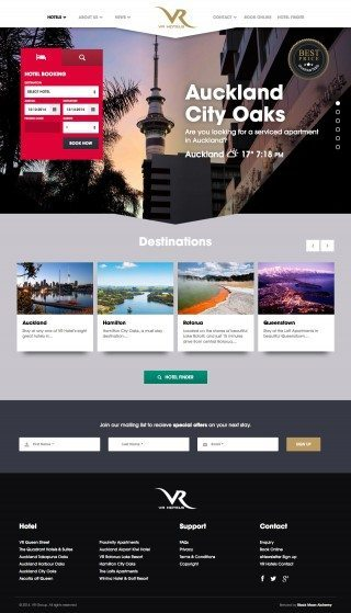 VR Hotels Website Homepage
