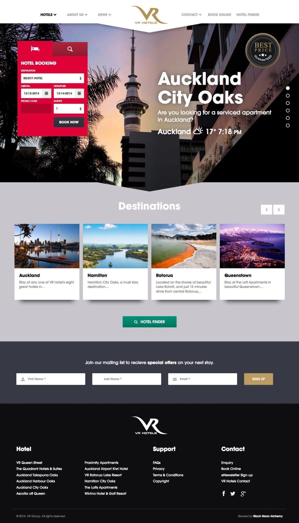 VR Hotels Website Homepage