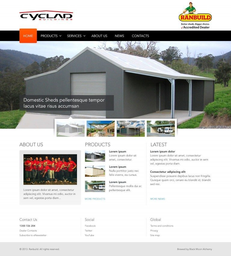 Ranbuild Dealers Website Homepage