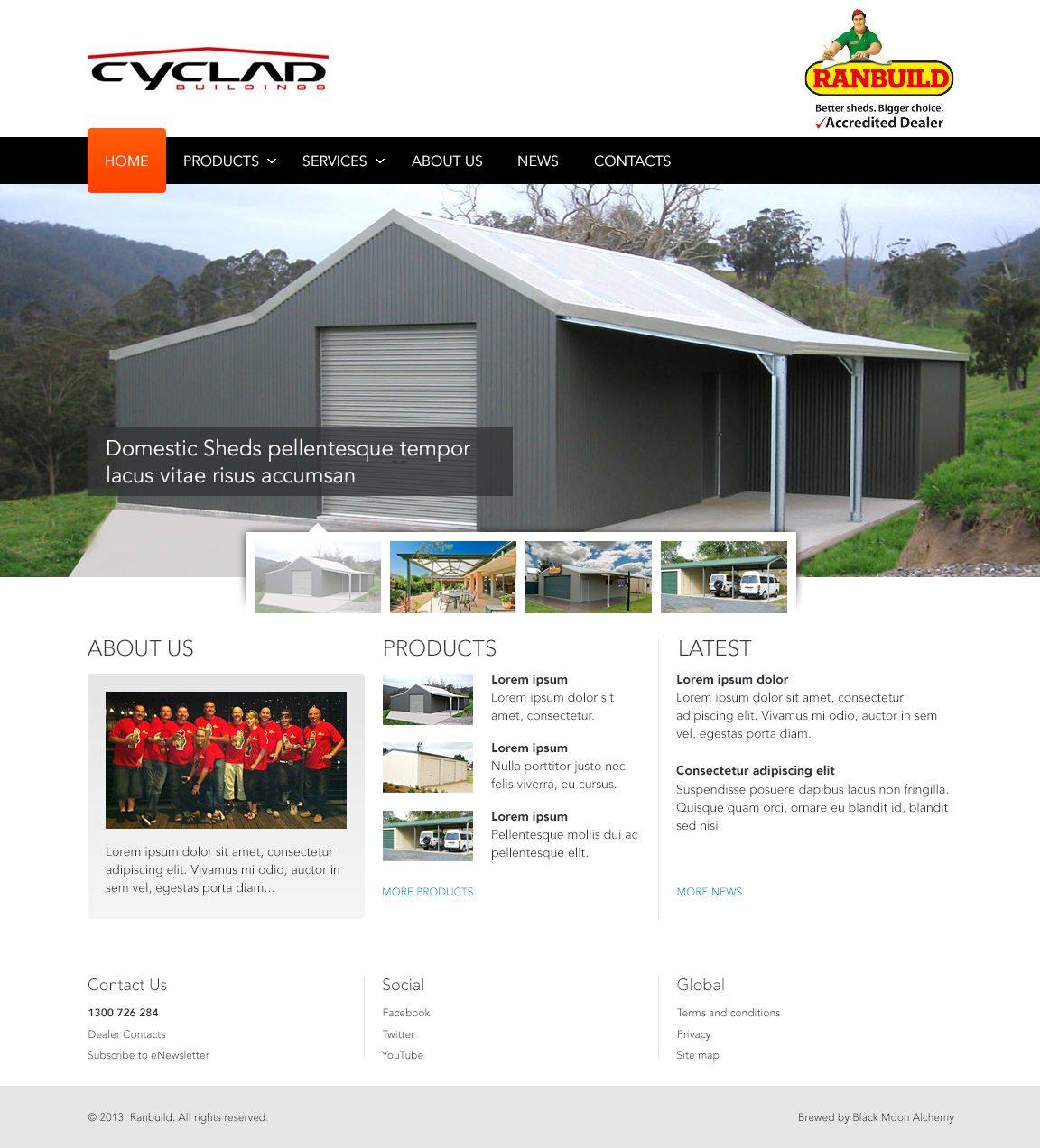 Ranbuild Dealers Website Homepage
