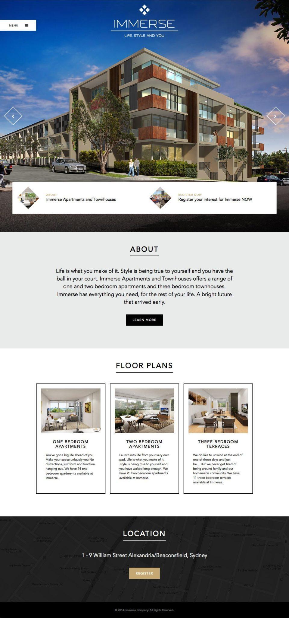 Immerse Website Homepage