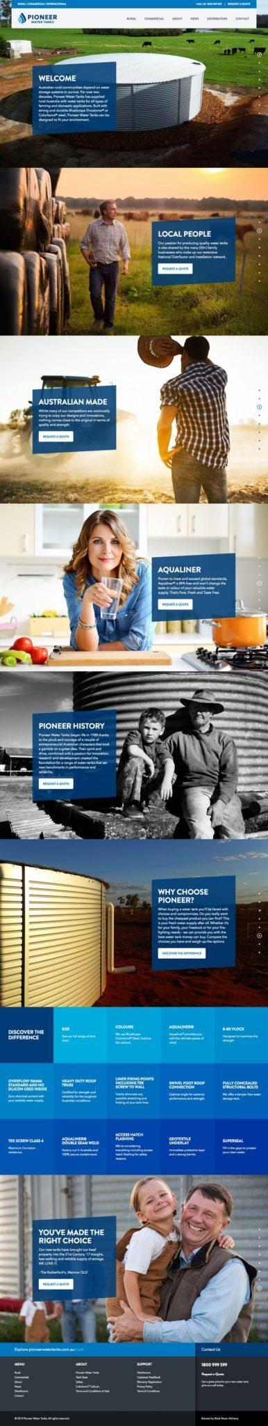 Pioneer Water Tanks Website Homepage