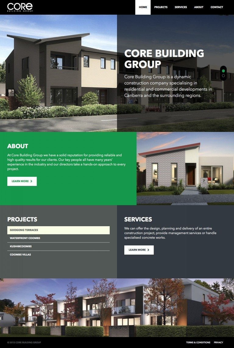 Core Building Group Website Homepage