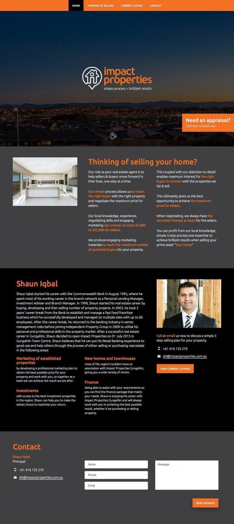 Impact Properties Website Homepage