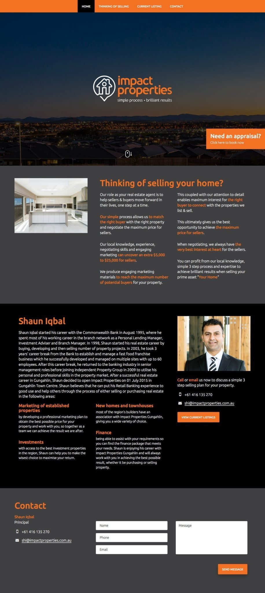 Impact Properties Website Homepage