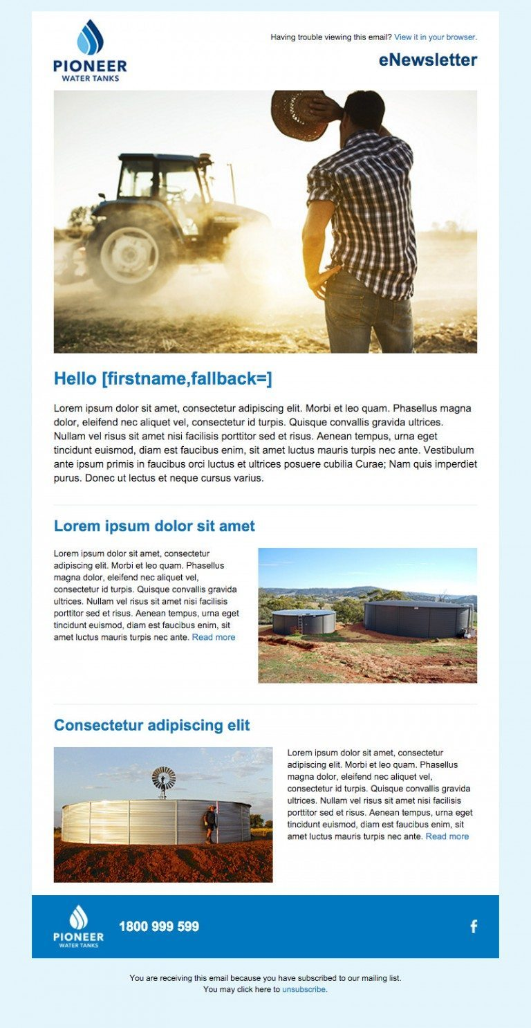 Pioneer Water Tanks Newsletter