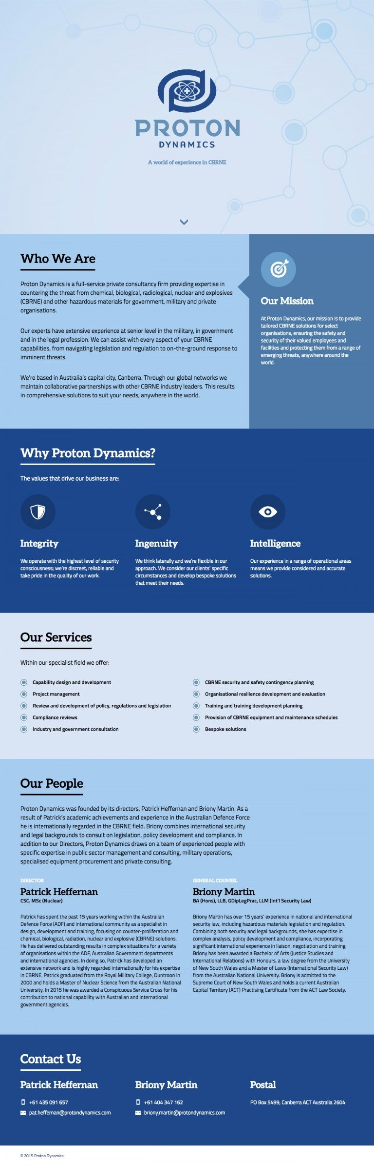 Proton Dynamics Website Homepage
