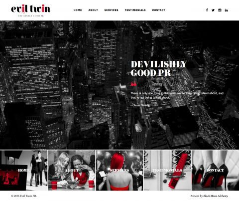 Evil Twin PR Website Homepage