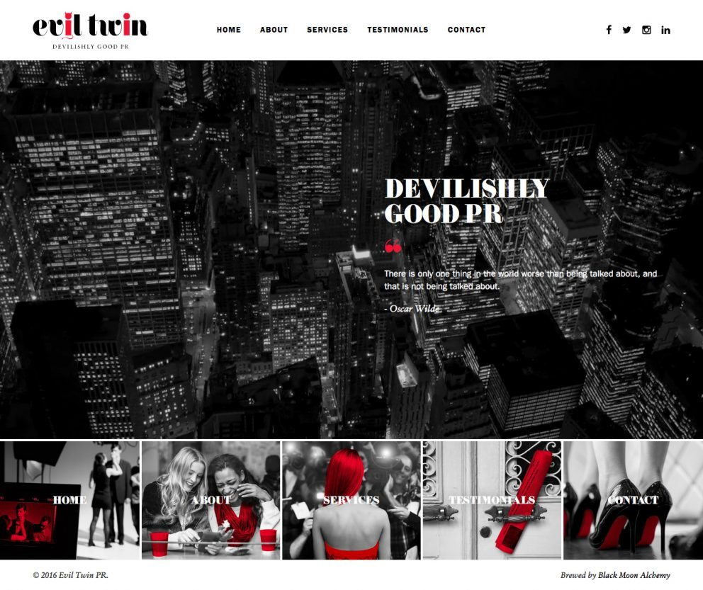 Evil Twin PR Website Homepage