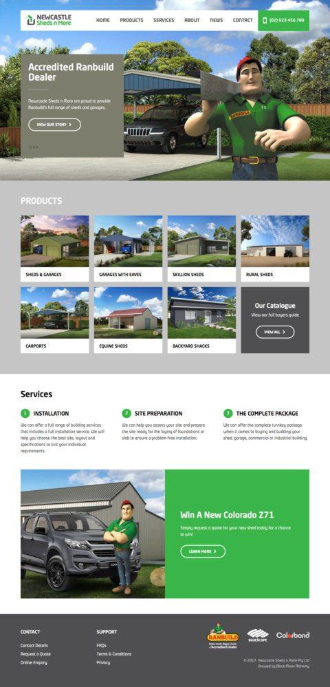 Sheds n More Website Homepage