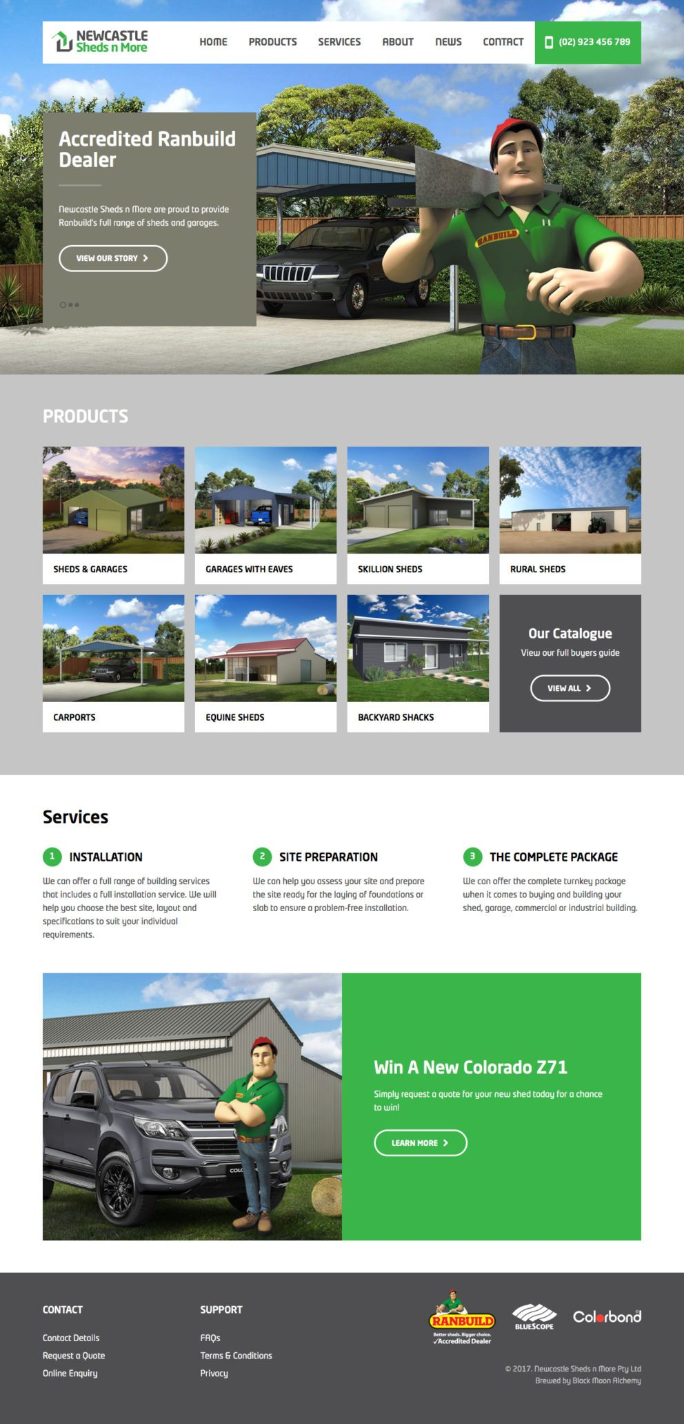 Sheds n More Website Homepage
