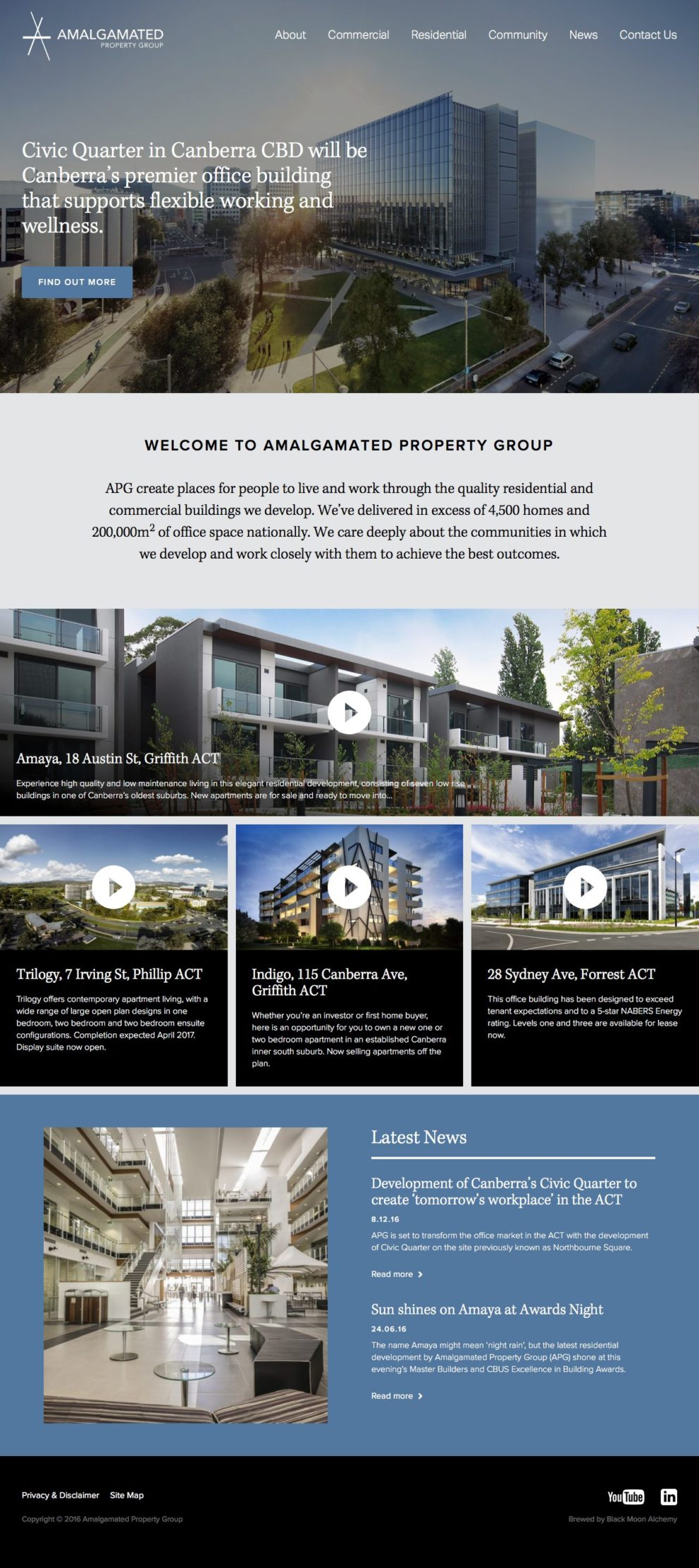 Amalgamated Property Group Website Homepage