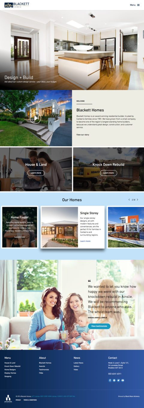 Blackett Homes Website 2016 Homepage
