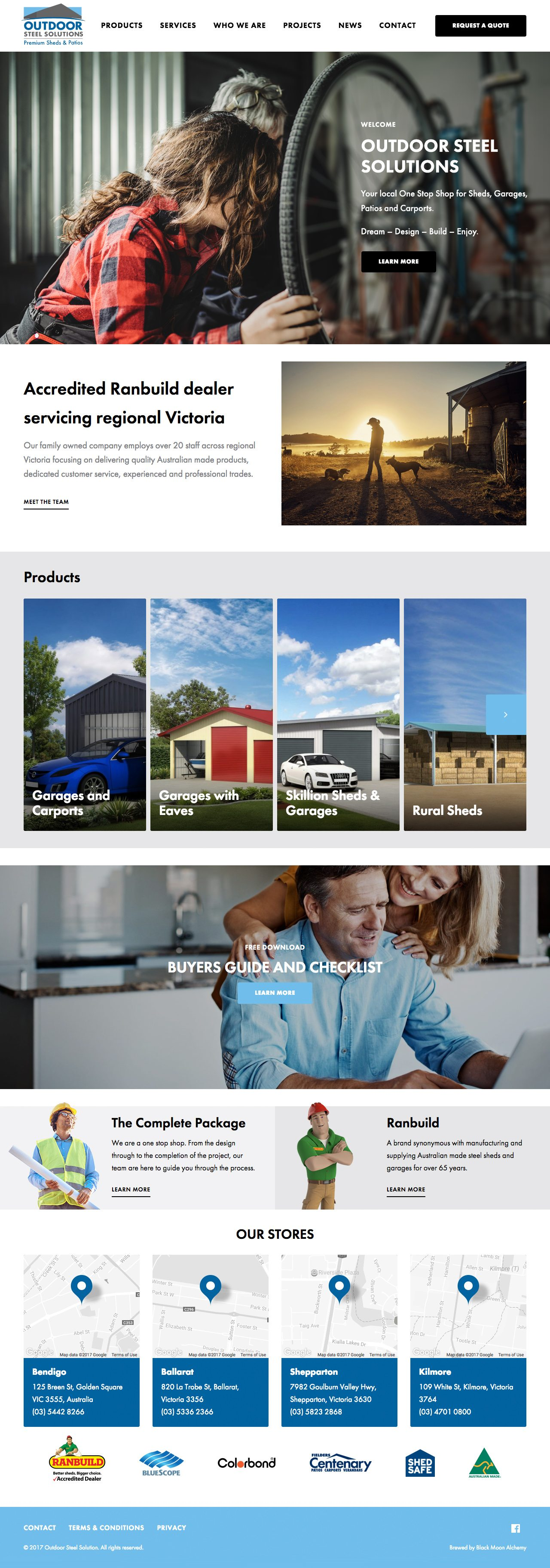 Outdoor Steel Solutions website homepage