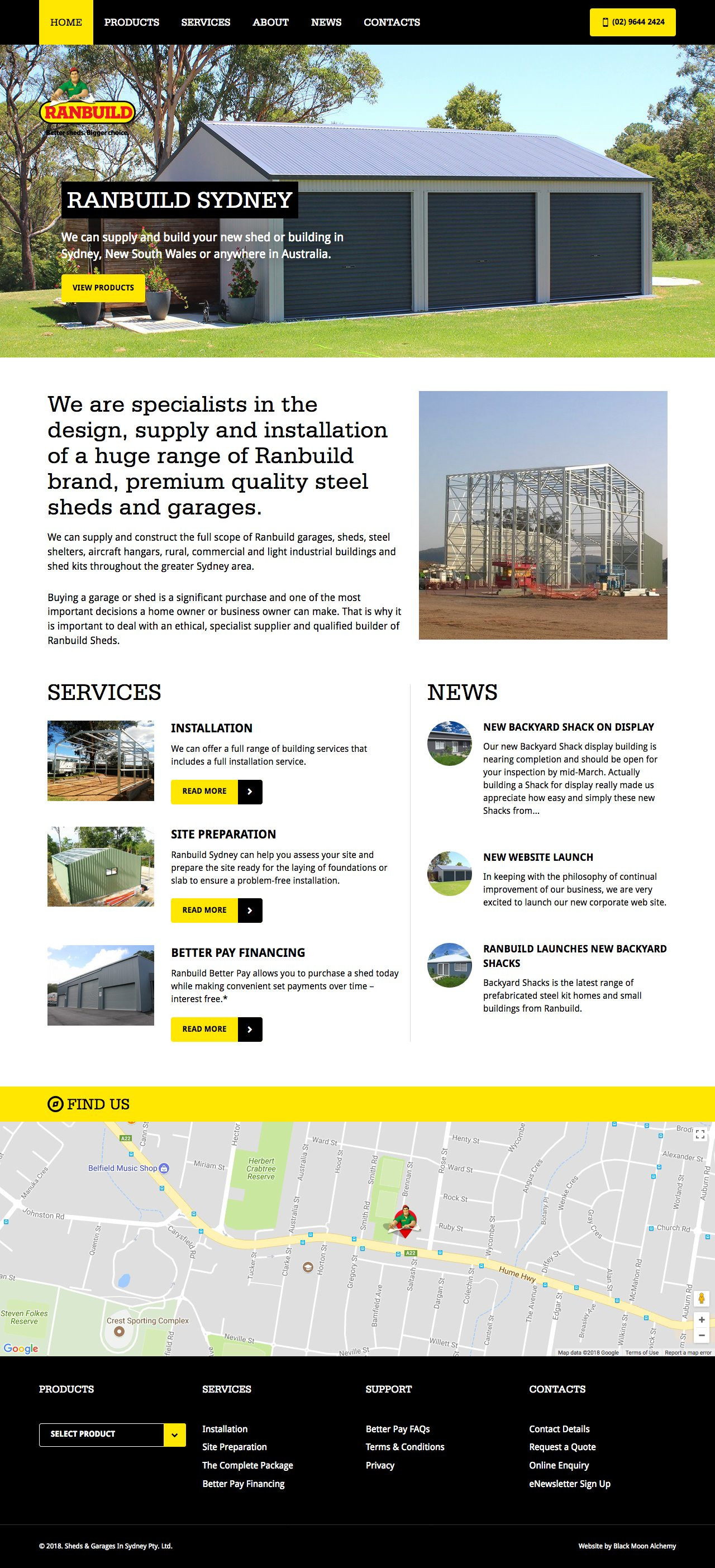 Ranbuild Sydney Website Homepage