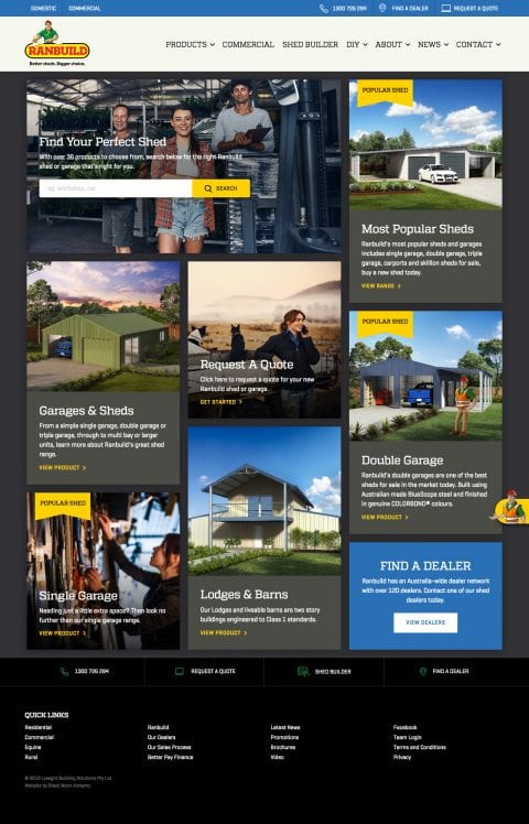 Ranbuild website homepage 2018