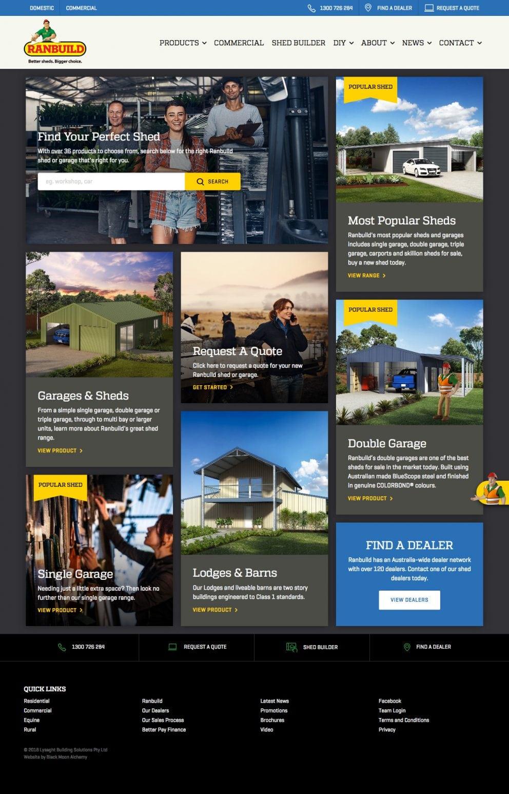 Ranbuild website homepage 2018