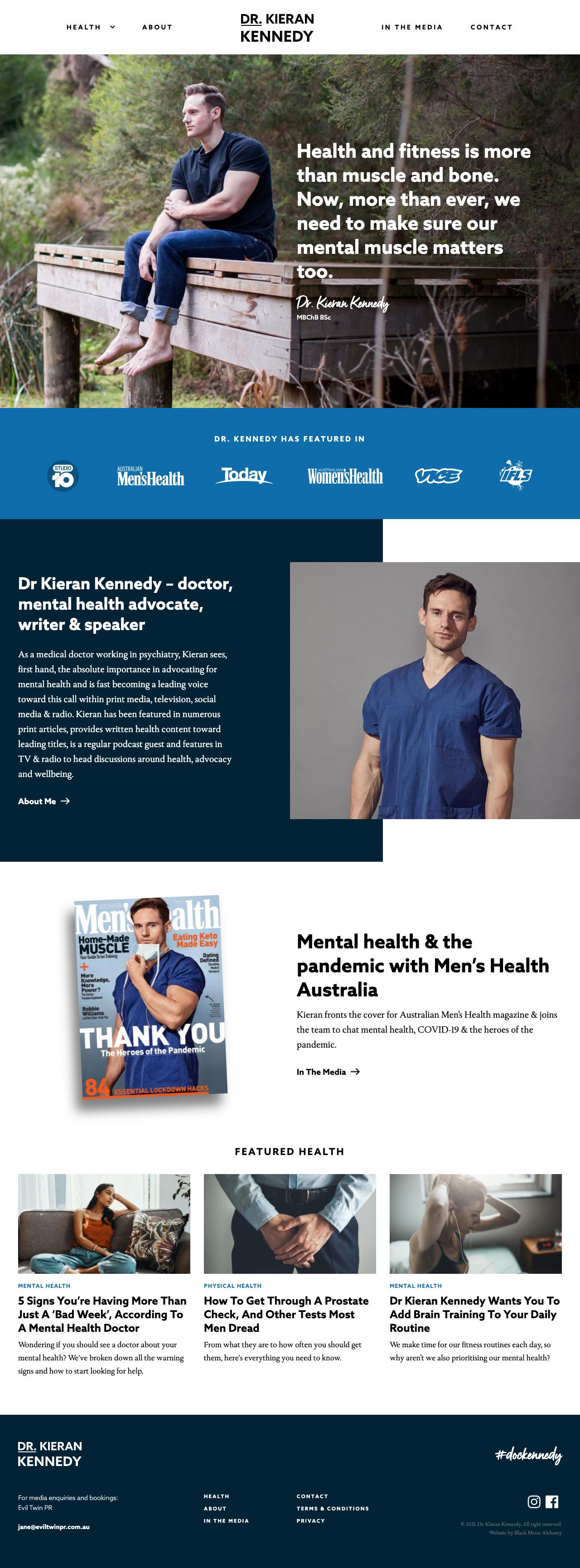 Dr. Kieran Kennedy website homepage